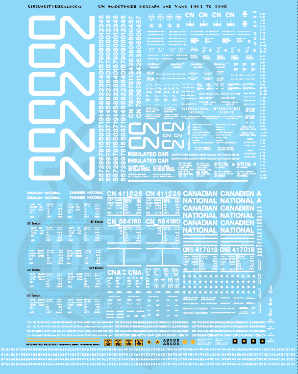 Canadian National CN Smooth side Boxcars and Vans 1961 to 1990 O Scale Decal Set