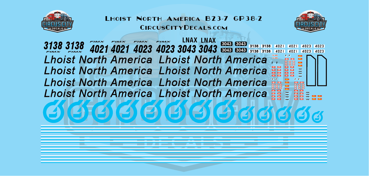Lhoist North America GP38-2 B23-7 HO Scale Decal Set