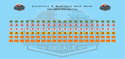 Louisville & Nashville Shop Signs HO Scale Decals