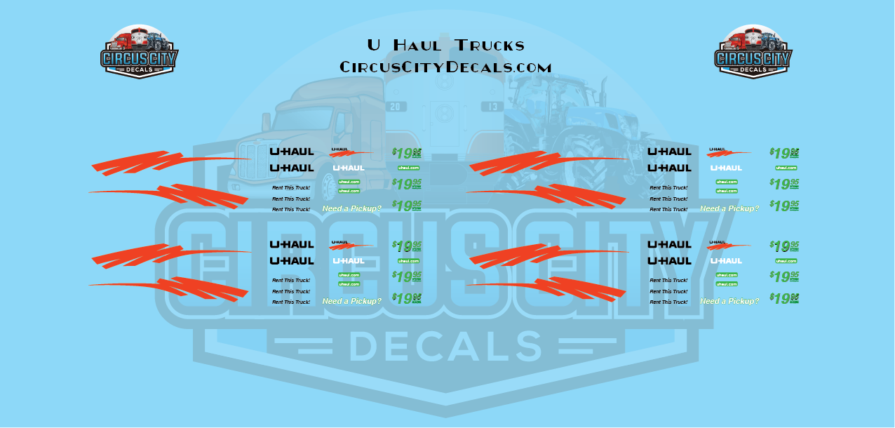 UHaul RPS Pickup Truck Decal Set S Scale