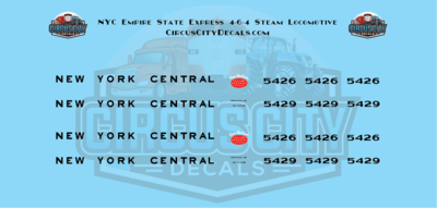 NYC Empire State Express 4-6-4 Steam Locomotive N Scale Decals