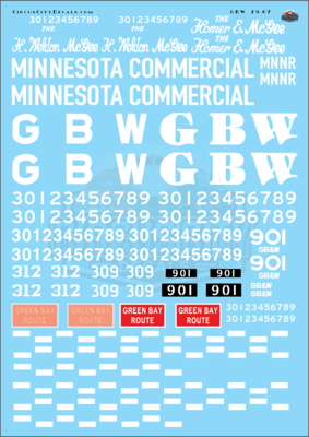 Green Bay & Western GBW Locomotive Decal Set G Scale Minnesota Commercial Alco