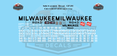 Milwaukee Road GP20 MILW S Scale Decal Set