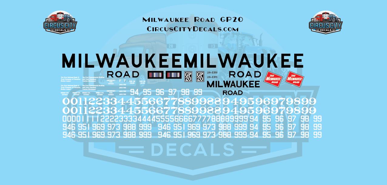 Milwaukee Road GP20 MILW HO Scale Decal Set