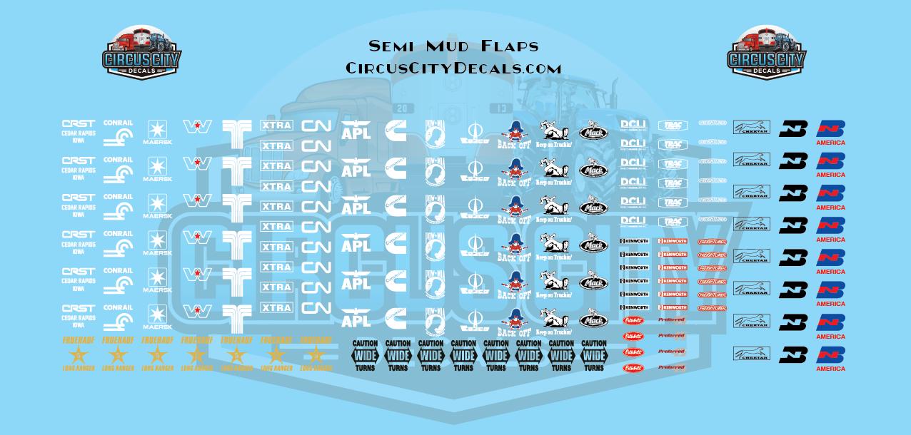 Semi Mud Flap Decal Set 1:64 Scale