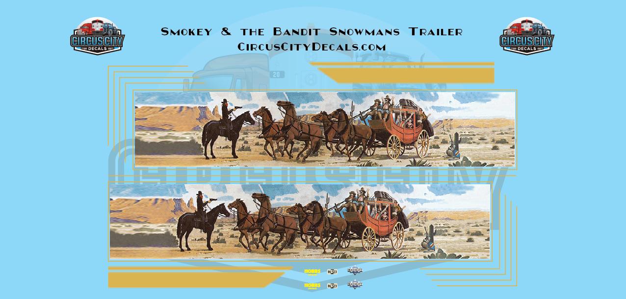 Smokey & the Bandit Snowman's Truck & Trailer Sheriff Pontiac LeMans 1:64 Scale