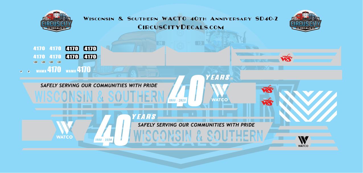 Wisconsin & Southern WATCO 40th Anniversary SD40-2 N Scale Decal Set WSOR 4170