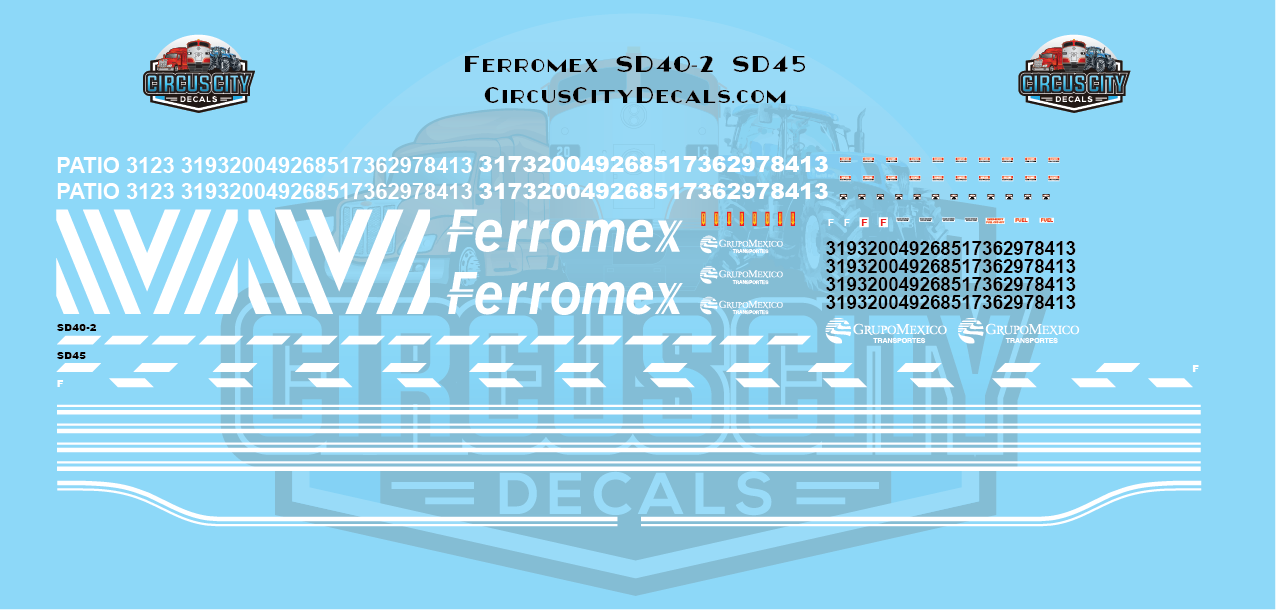 Ferromex SD40-2 SD45 HO Scale Decal Set