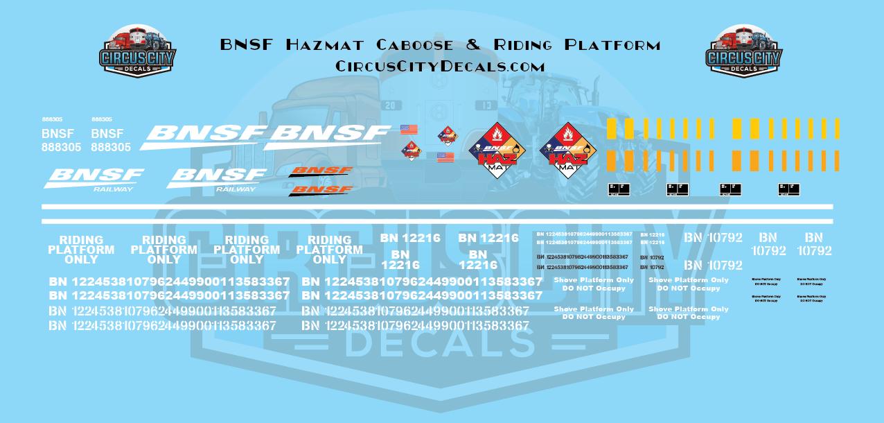 BNSF Hazmat Caboose & Riding Platform N Scale Decal Set