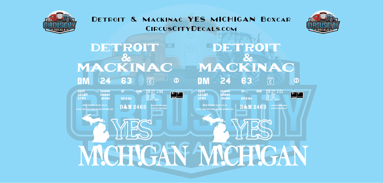 "Detroit & Mackinac ""Yes Michigan"" Boxcar N Scale Decal Set DM 2463"