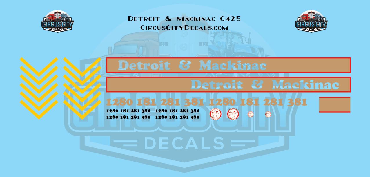 Detroit & Mackinac C425 N scale Decal Set