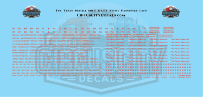 The Texas Special MKT KATY Frisco Passenger Car N Scale Decal Set
