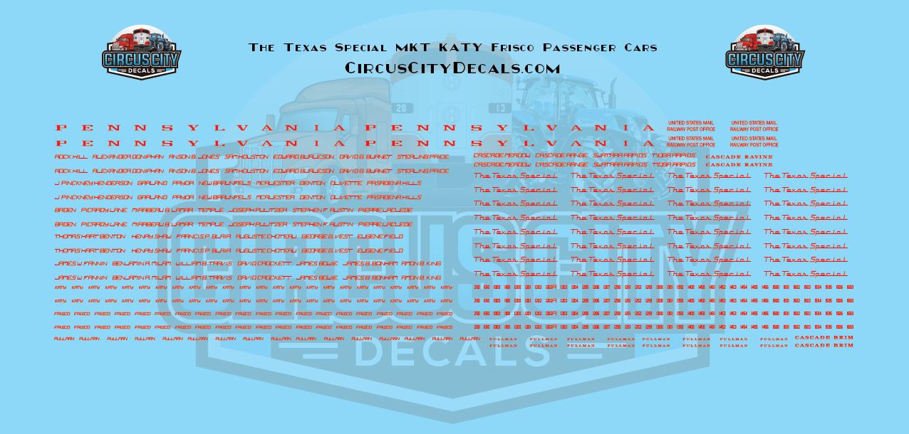 The Texas Special MKT KATY Frisco Passenger Car HO Scale Decal Set