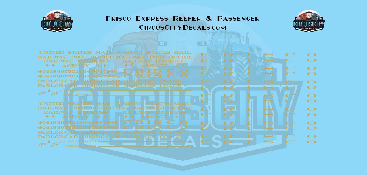 Frisco Express Reefer & Passenger S Scale Decal Set