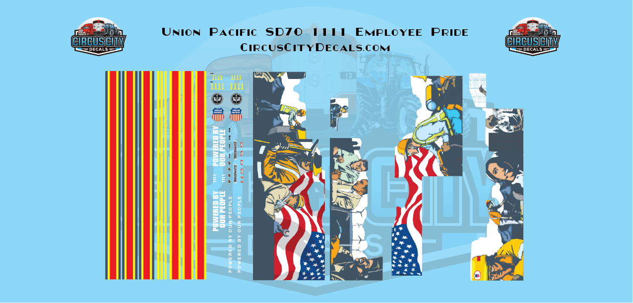 UP Union Pacific SD70 #1111 Employee Pride USA Trains G Scale Decal Set