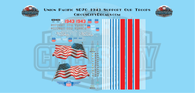 UP Union Pacific SD70 #1943 Support Our Troops USA Trains G Scale Decal Set