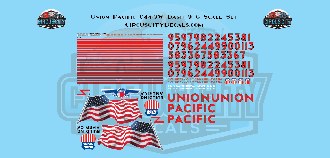 UP Union Pacific C44-9W Dash 9 Aristocraft G Scale Decal Set