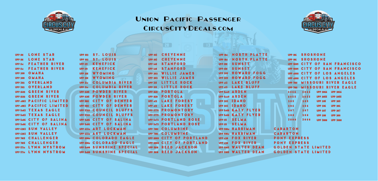 Union Pacific Heritage Fleet Car Names N Scale Decals UP UPRR Kato