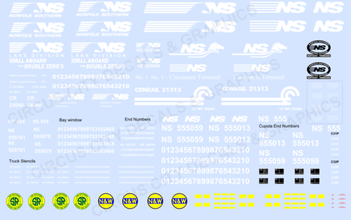 Norfolk Southern Caboose Decal Set S Scale