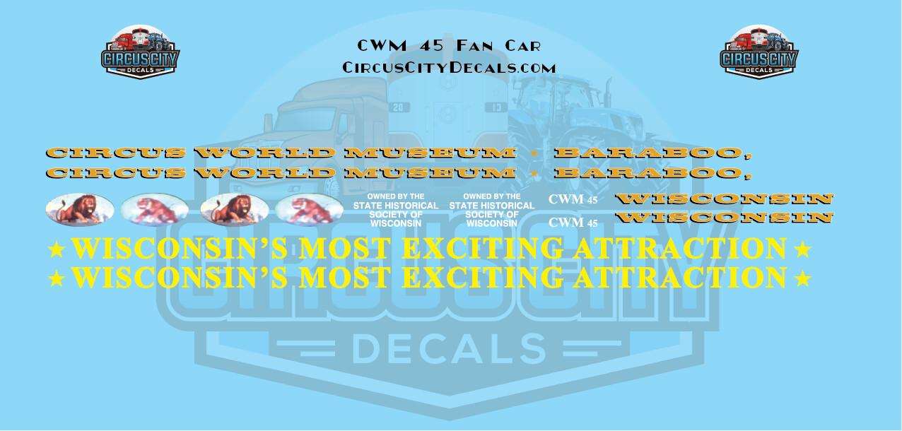 Circus Train CWM 45 Open Air/Fan Car Decals HO Scale