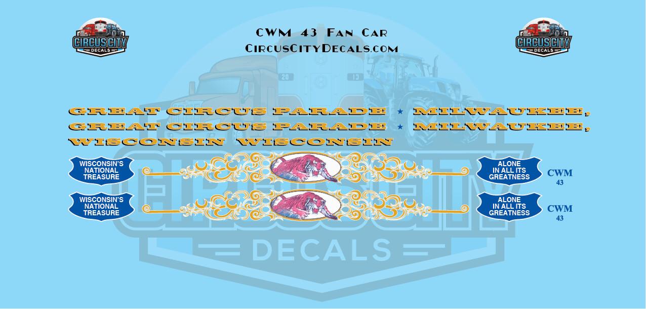 Circus Train CWM 43 Open Air/Fan Car Decals HO Scale