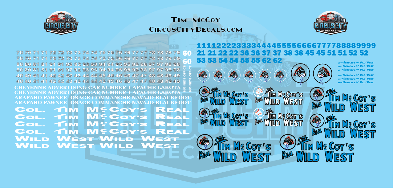 Tim McCoys Real Wild West O Scale Decal Set