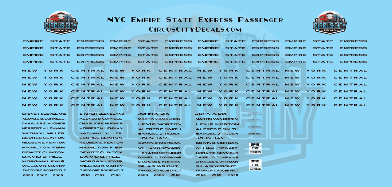 NYC Empire State Express Passenger Cars N Scale Decals