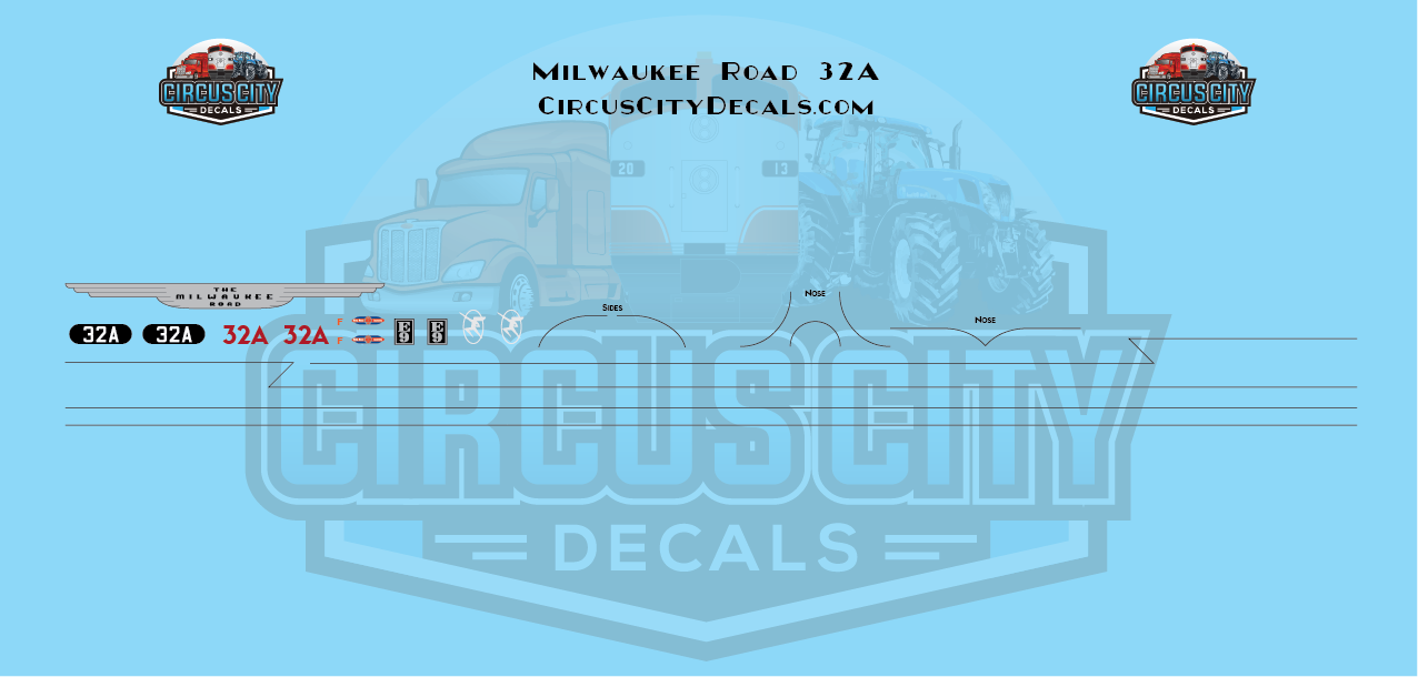Milwaukee Road E9 32A HO Scale Decal Set