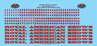 Royal American Shows Flat Car Decals O Scale