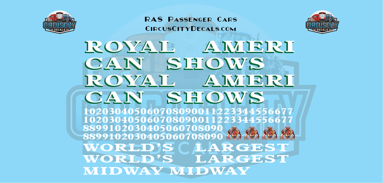 Royal American Shows Passenger Car Decals O Scale