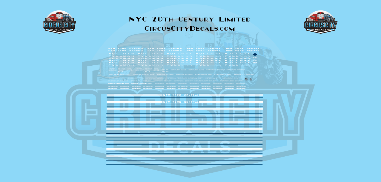 NYC 20th Century Limited Passenger Cars N Scale Decals