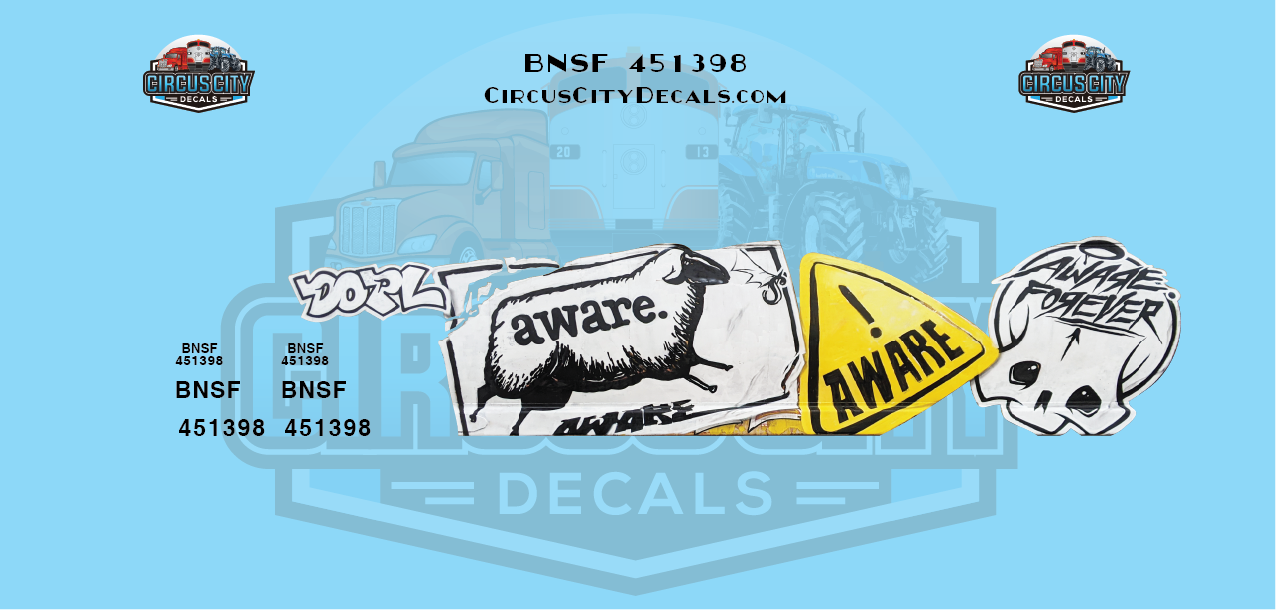BNSF 451398 Aware Hopper Graffiti N Scale Decal Set