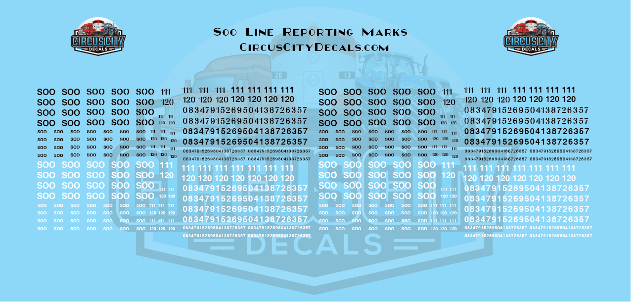 Soo Line Reporting Marks HO Scale Set