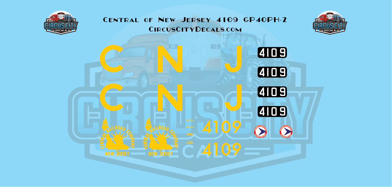 Central of New Jersey GP40PH-2 4109 HO Scale Decal Set