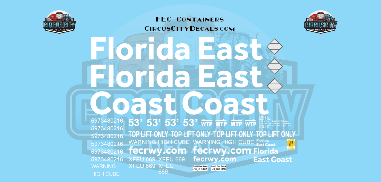 Florida East Coast FEC Container 53' G Scale Decal Set
