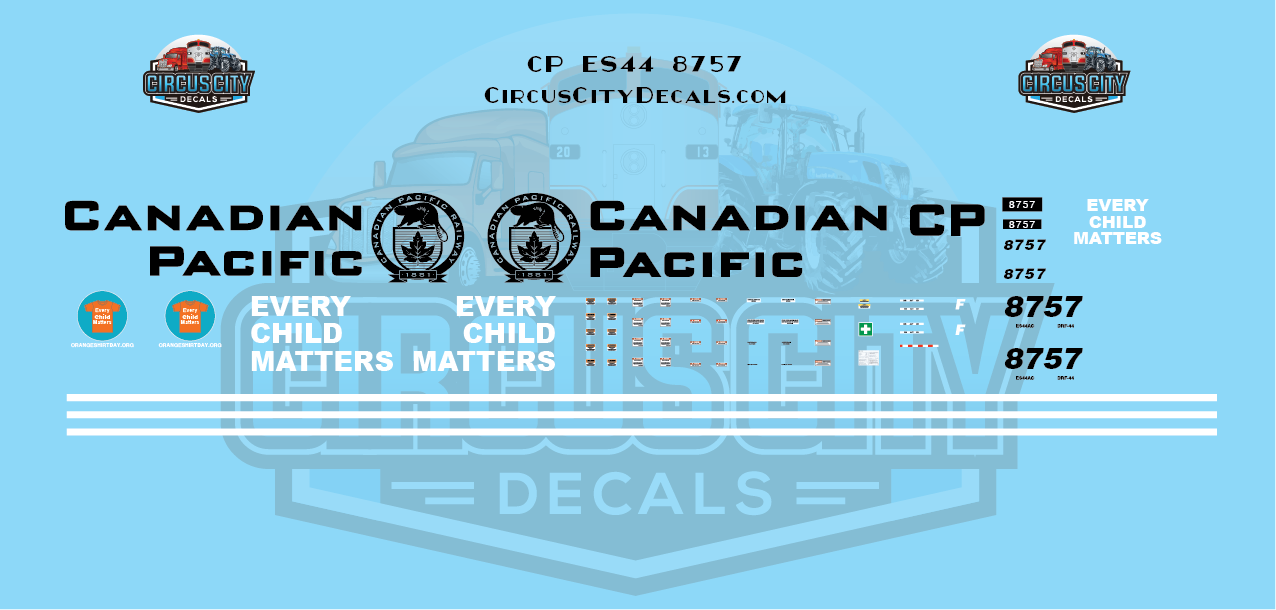 Canadian Pacific CP ES44 8757 Every Child Matters Decal Set HO Scale