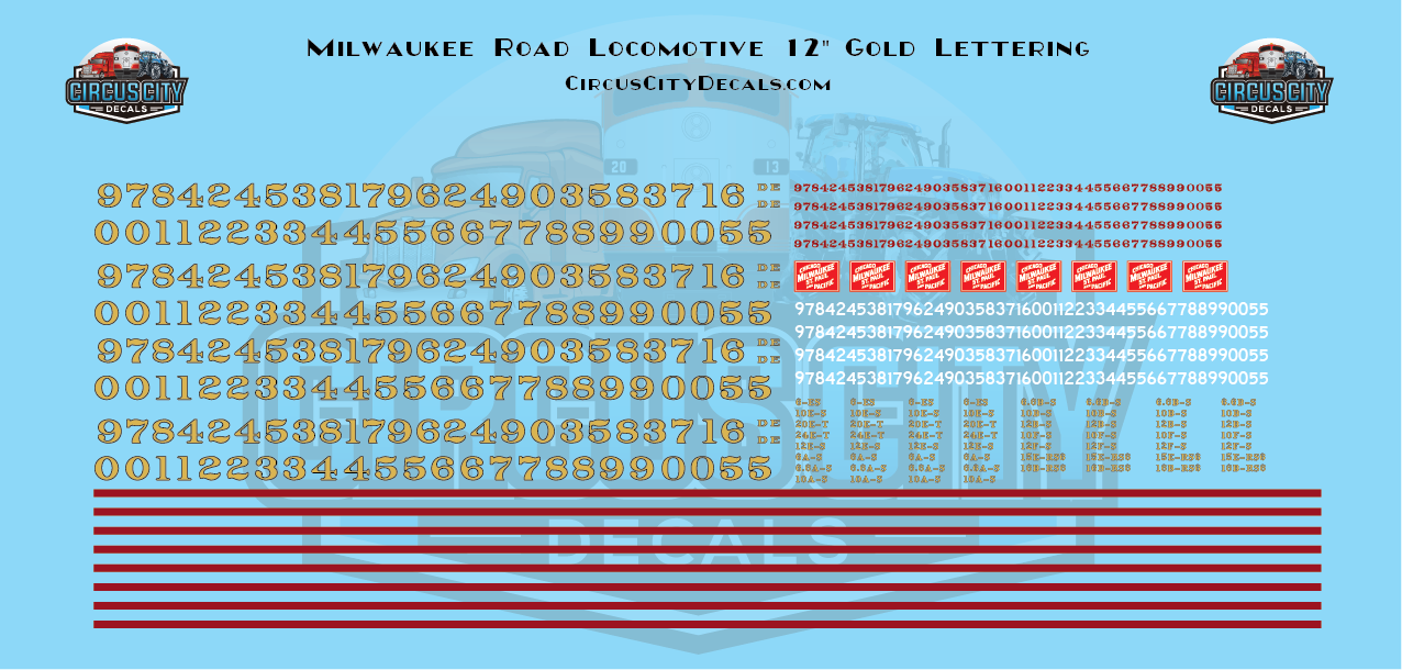 """Chicago, Milwaukee, St. Paul & Pacific CMStP&P 12"""" Gold Locomotive Numbers HO Scale Decal Set"""