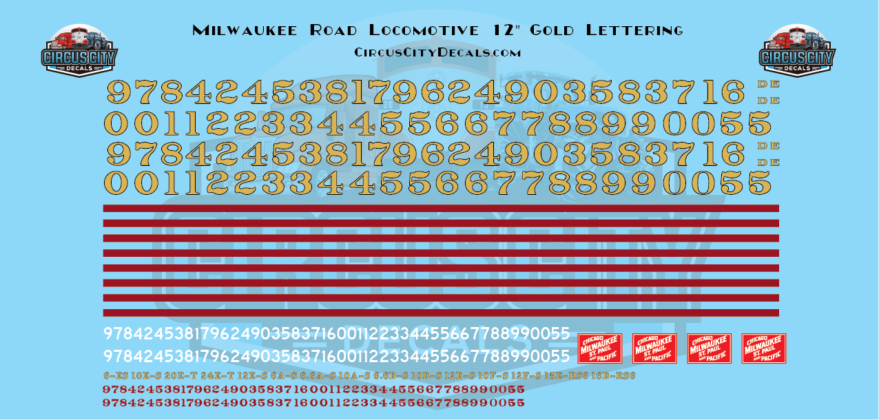 """Chicago, Milwaukee, St. Paul & Pacific CMStP&P 12"""" Gold Locomotive Numbers O Scale Decal Set"""