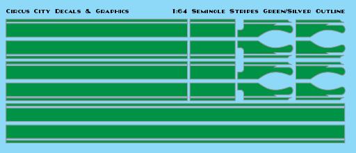 Seminole Stripe Green/Silver Outline 1:64 Scale