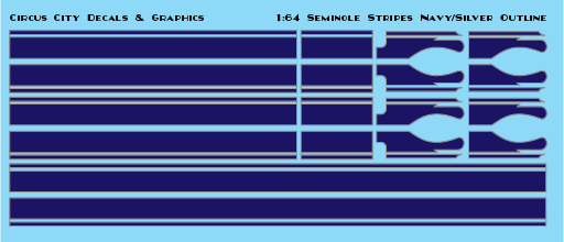 Seminole Stripe Navy/Silver Outline 1:64 Scale