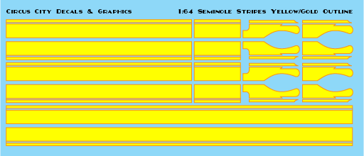 Seminole Stripe Yellow/Gold Outline 1:64 Scale
