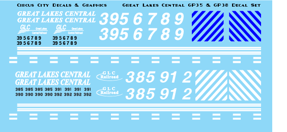 Great Lakes Central GP35 & GP38 N Scale decals