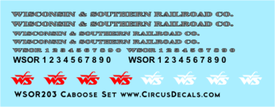 Wisconsin & Southern Railroad Caboose Decal Set WSOR
