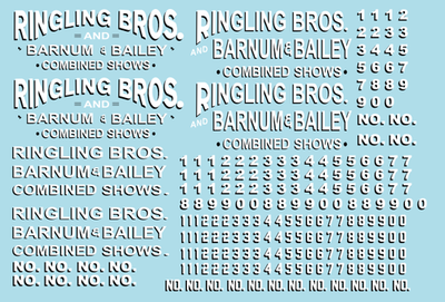 Ringling Bros. & Barnum Bailey Circus RBBB Wagon Decals O Scale