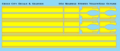 Seminole Stripe Yellow/Gold Outline 1:64 Scale