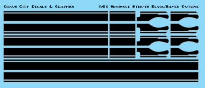 Seminole Stripe Black/Silver Outline 1:64 Scale