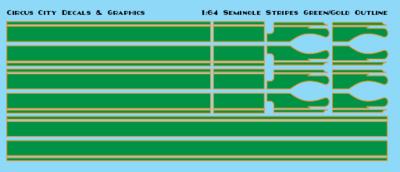 Seminole Stripe Green/Gold Outline 1:64 Scale