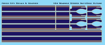 Seminole Stripe Navy/Gold Outline 1:64 Scale