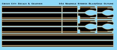 Seminole Stripe Black/Gold Outline 1:64 Scale