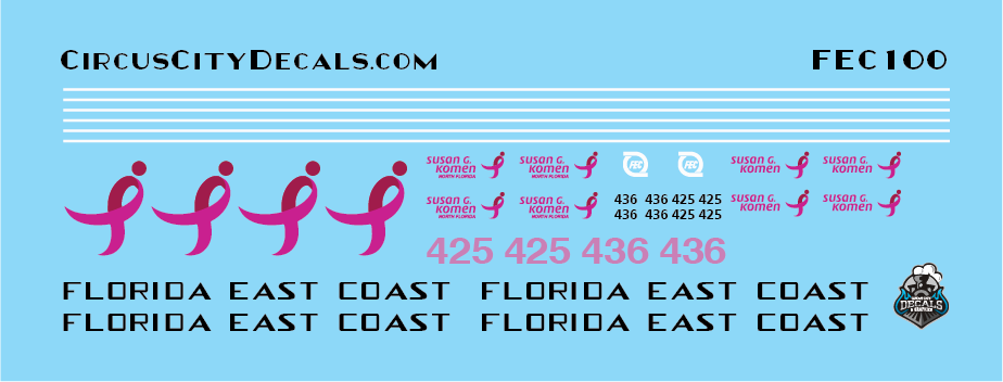 Florida East Coast 425 436 Breast Cancer Units N Scale